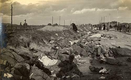 Cadavrele soldatilor romani dupa masacrul de la Brasov 1916